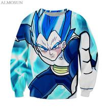 ALMOSUN New DBZ Vegeta Japanese Anime Crewneck Sweatshirts 3D Printed Cartoon Pullover Jumper Unisex Sweats Clothing Top