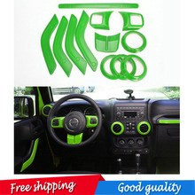 free shipping 12 pic Interior Mouldings Full Set Interior Decoration Trim Kit  For Jeep Wrangler Cab 4 Door 2011 - 2015