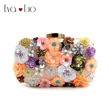 RQH3 DHL Free Shipping Green Sequined Flower Beading Evening Bags Clutch Bag Women Clutches Lady Wedding bag Handbag Purse(China)