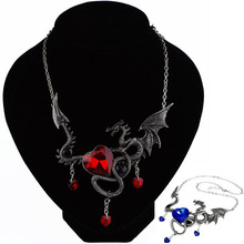 LNRRABC Red Blue Crystal Dragon Heart Girls Personality Classic Sweater Chain Pendant Necklace Fashion Jewelry