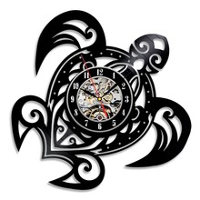 Global free shipping Vinyl Record Design Wall Clock Classic Wall clock Mechanism Quartz Black Turtle Vinyl Record(China)