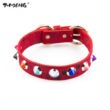 Genuine Leather Dog Collars 1 Row Sharp Spiked Studded Red For Small Big Breeds Dot Pattern Adjustable Necklace Pet Products