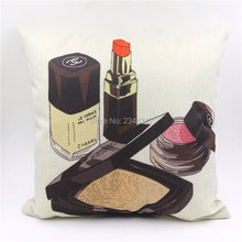 Fashion Modern Cotton Linen Burlap Decorative Pillow Case Sofa Seat Car Cushion Covering Sexy Red Lipstick Cosmetics Makeup