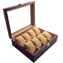 8 Grid Elegant Durable Dark Red Wooden Watch Display Box Watches Case Windowed Jewelry Storage Holder Organizer Free Shipping
