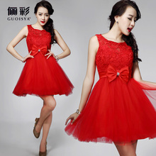 31405 short red pink with lace girls cocktail dresses for party 2014 new arrival