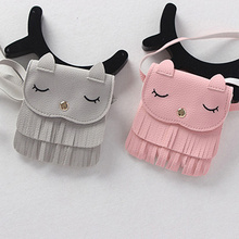 Buy Hot Sale Cute Children Girls Tassel Small Cat Shoulder Messenger Bag Mini Coin Purses PU Leather Handbags Wallet Gift Kids for $1.85 in AliExpress store