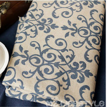 Buulqo Meter retro vintage cotton linen fabric printed blue flower cotton cloth for DIY sewing upholstery home decor material(China)