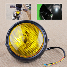 Motorcycle Motorbikes Chopper Cafe Racer Amber Lens Retro Vintage Round Headlight Lamp 12V Fit for Harley Honda Suzuki Kawasaki(China)