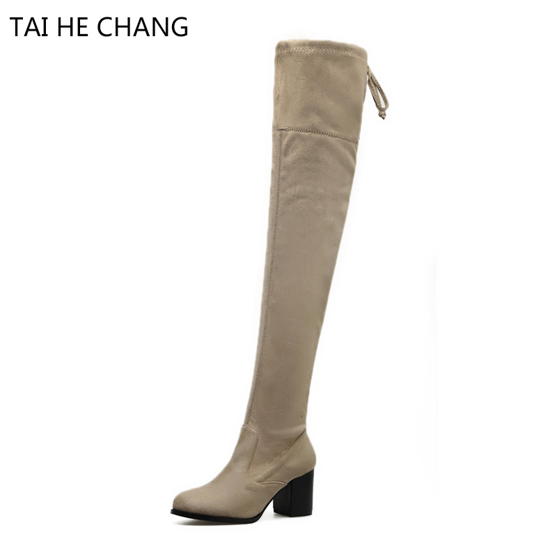 2017 New Shoes Woman Long Frye Stretch Fabric Over-The-Knee Lace-Up Riding Equestrian Pointed Toe Square Heel Women Shoes Boots<br>