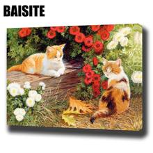 BAISITE DIY Framed Oil Painting By Numbers Animal Pictures Canvas Painting For Living Room Wall Art Home Decor E746(China)