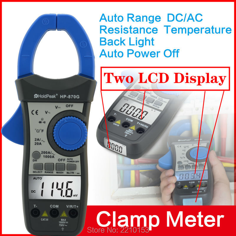 Free Shipping Electrical Instruments 870G Dual Display Clamp Meters DC/AC Resistance Digital Clamp Multimeter<br>