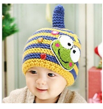 Korean children color striped Knit Wool Hat cute frog pattern baby winter ear warm crochet baby hat Free Shipping  BH44