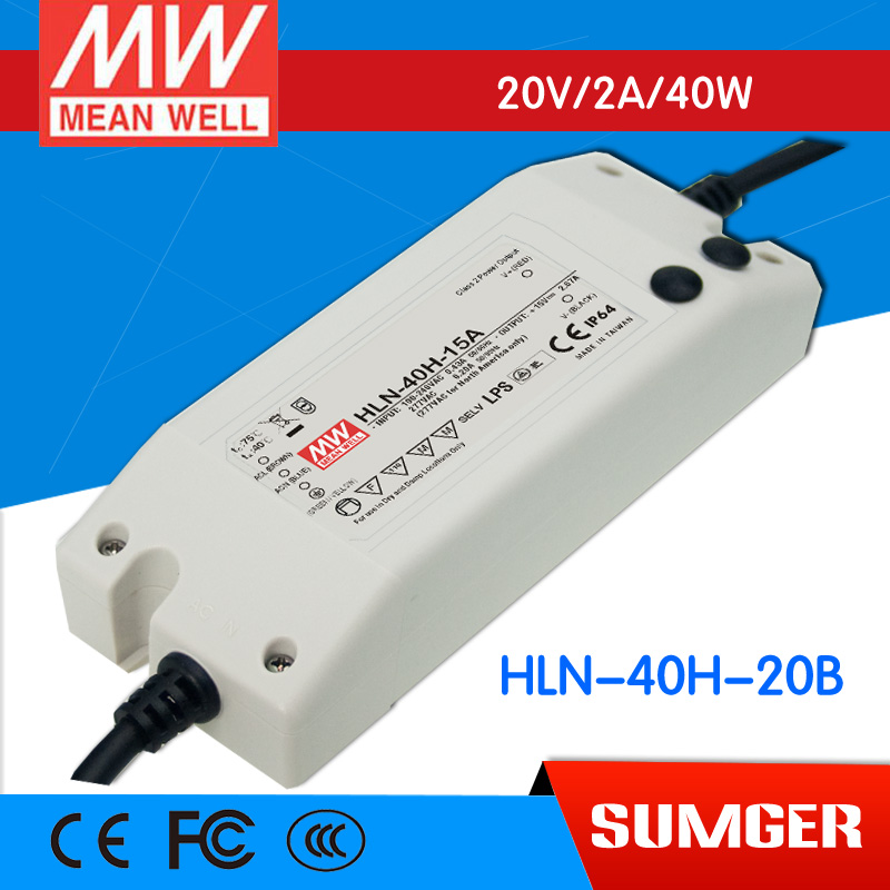 1MEAN WELL original HLN-40H-20B 20V 2A meanwell HLN-40H 20V 40W Single Output LED Driver Power Supply B type<br>
