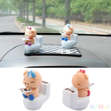 Piglet Reading on Toilet Bowl Pig Solar Toy Car Office Decor Ornament Gift(China)