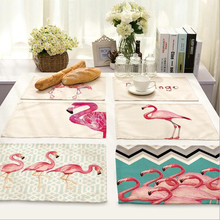 CFen A's Flamingo style Dinner table Cotton Printing Placemat Setting placemats table bowl plate pad coasters tableware mat 1pc(China)