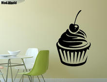 Mad World-Cherry Cupcake Food Mix Icing Swirls Wall Art Stickers Wall Decal Home DIY Decoration Removable Decor Wall Stickers()