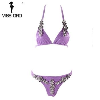 Missord 2017 Sexy halter con lentejuelas bikini traje rhinestone FT8162