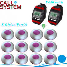 Wireless Calling Waiter Paging System 2pcs y-650 Wrist Watch Pager and 12 pieces K-O1-plus Buttons free DHL shipping