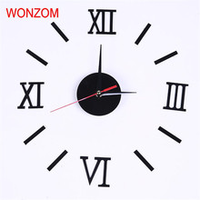 Large Roman Numerals Wall Clock Mirror Sticker DIY Clock Silent Home Decoration Wall Watch Living Room Luxury Relogio De Parede(China)