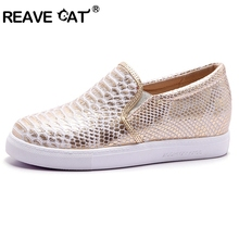REAVE CAT Autumn Casual Flats Shoes Women Round Toe Ladies Slip On Moccasins Pregnant Creepers Espadrilles Designer RL2627(China)