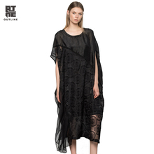 Outline Women Linen Silk Black Dresses Vintage O-neck Lace Embroidery  Loose Long Beach Casual Summer Ladies Vestidos L172Y056