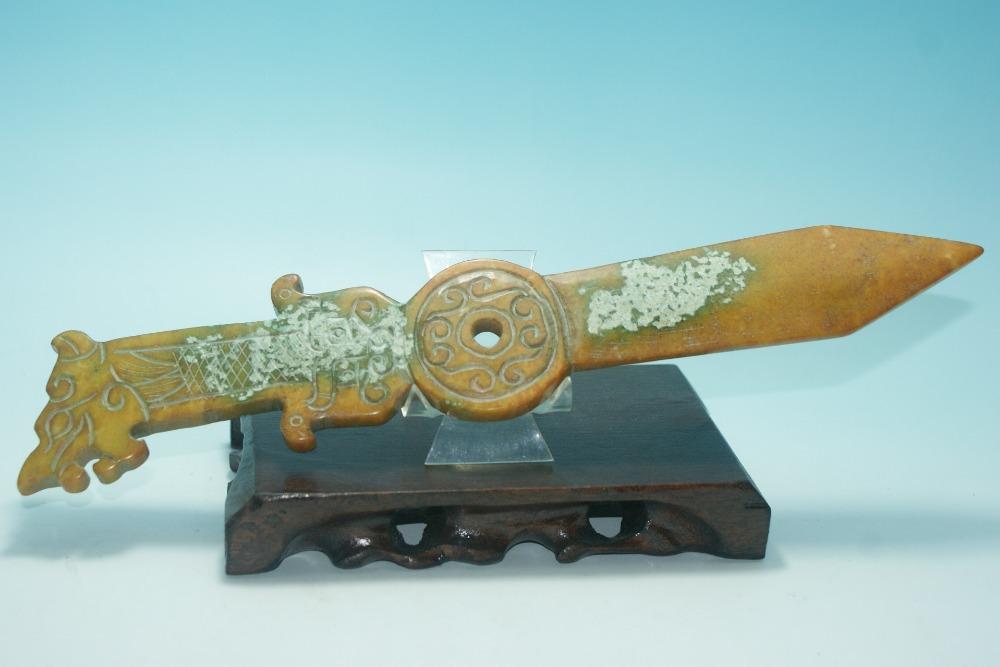 chins velho jade mo escultura decorativa espada tipo projeto escultura do dragochina mainland