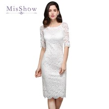 Gorgeous New Little White Cocktail Dresses 2017 Scoop Sheath Knee Length Full Lace Party Gowns Bling Homecoming Gowns Cheap(China)