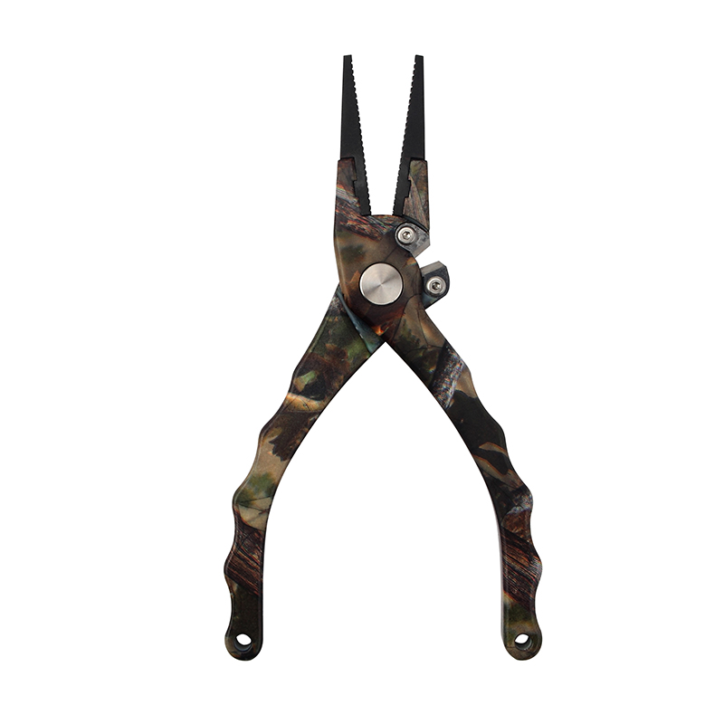 Professional 7.5 Camo Aluminum Fishing Pliers Fishing Line Cutters Split Ring Plier Hook Remover Crimper withSheath and Lanyard<br>