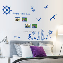 "New Arrive Blue sea ""Underwater World"" Seagull wall stickers for living room for children kids bed room wall sticker home decor"