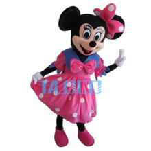 Pink Dress  Mouse Mascot Costume Cartoon Character Adult Suit Express