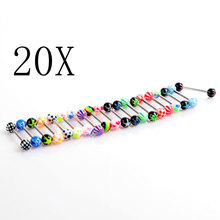20 pcs Tattoo Supplies Colorful Stainless Steel Ball Barbell Tongue Rings Bars Piercing Cosmetic Random Color CX181