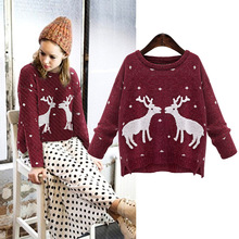 SAGUARO 2017 Winter Reindeer Christmas Sweater New  Women Female Deer Pullovers Long-sleeve Knitted Pullover Women Lady Sweaters