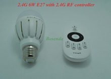 2.4G RF Wireless Adjustable AC86-265v 6w LED Bulb Lamp E27 Mi-light with RF 2.4G Output 4 Channel Remote Controller(China)