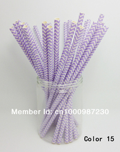 25 Pcs Paper Straws Purple Chevron Striped Drinking Straws For Party Birthday Wedding Decoration Color 15(China)