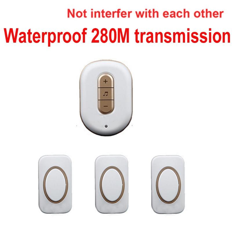 5 wall&amp;280M work ring bell 3 emitter+1 receiver wireless chime doorbell Waterproof door chime,wireless door ring music door bell<br>