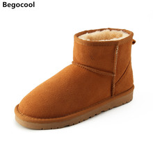 Begocool Brand Hot Sale Women Snow Boots 100% Genuine Cowhide Leather Ankle Boots Warm Winter Boots Woman shoes large size 34-44(China)