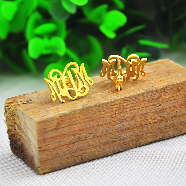 Wholesale Golden Plated Monogram Earrings Customize Initial Jewelry boucle inauris brinco