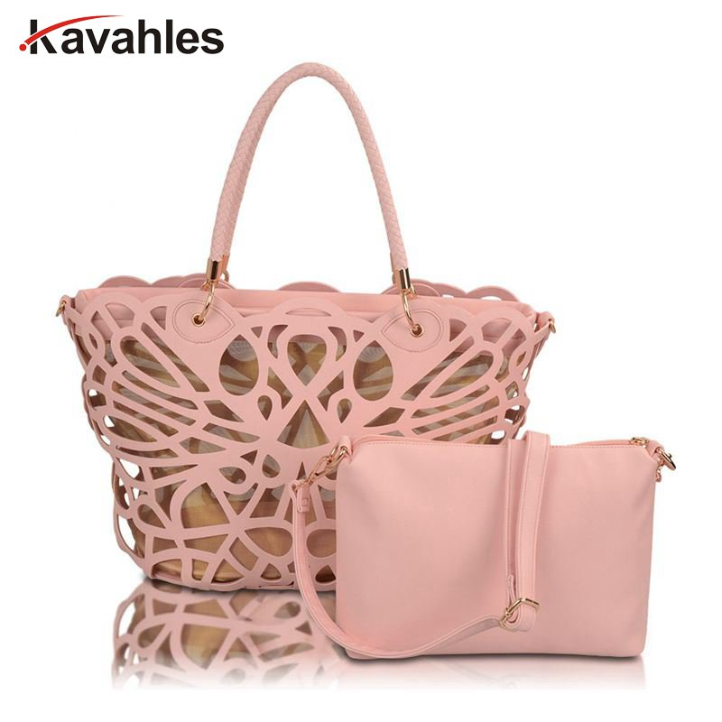 2PCS/SET 2017Famous brands women handbags hollow out women messenger bags ladies tasssel tote bolsas lady bag bolsa mujer PP-719<br>