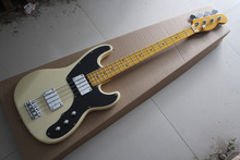 Free shipping Hot Selling Guitar Maple Fingerboard F Tele telecaster Bass Beige 4 Strings Electric Guitar .(China)