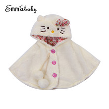 Infant Toddler Kids Baby Girls Cat Hooded Cloak Poncho Jacket Outwear Warm Coat Clothes Cute Snowsuit Lovely Baby Kid Coats(China)