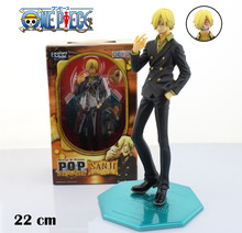 "Free Shipping Cool 9"" One Piece Anime P.O.P Black Leg - Sanji Boxed 23cm PVC Action Figure Collection Model Toy Gift"