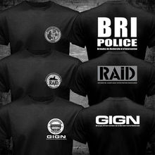 New France French Special Elite Police Forces Unit GIGN Raid BRI Black T shirt Tee Mens 100% Cotton Short Sleeve T-Shirt