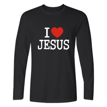 I Love Jesus Christian Long Sleeve T Shirt Men Slim Fit T-shirts with men TShirt Luxury Brand in Fashion Cotton Tee Shirts(China)