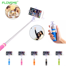 FLOVEME Universal Mini Selfie Light Extendable Wired Selfie Stick Remote Control Monopod For iPhone Samsung Xiaomi Android(China)