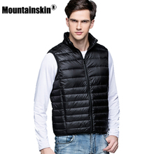 Mountainskin New Men's Warm Ultralight Down Jackets Vests Men Solid Thin Winter Vest Male Lightweight Coats Brand Clothing SA024