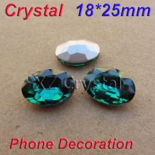 New Design 18x25mm 50pcs/lot Pointback Green Zircon Stones Crystals Oval Rhinestones In Bulk DIY Dress/Hat/Shoes Decoration(China)