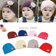 Candy Color Bear Hat Baby Children Boys Girls Cotton Beanie Cap One Size(China)