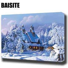 BAISITE DIY Framed Oil Painting By Numbers Landscape Pictures Canvas Painting For Living Room Wall Art Home Decor E851(China)