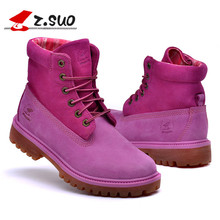 Brand Shoes Woman Ankle Boots Nucbuck Leather Casual lace up Autumn Boots Female Cowboy Booties zs1206