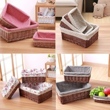 1PC Wicker Storage Basket Storage Box Gift Hamper Fruit Box Bamboo Weaving Storage Basket(China)